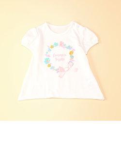 フラワーリースプリント半袖チュニックTシャツ
