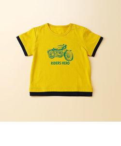 バイク柄プリント半袖Tシャツ