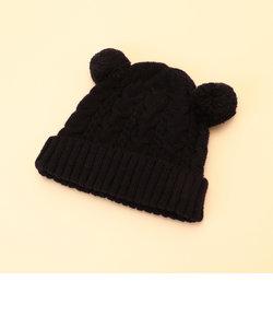 ポンポン耳つきニット帽