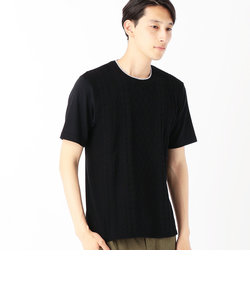 異素材コンビネーションTシャツ<ケーブル柄>