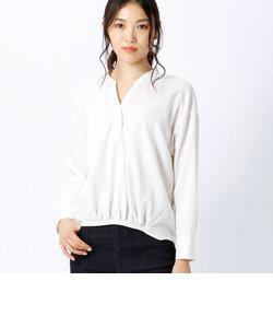 ノーカラー 抜け衿 スキッパーシャツ