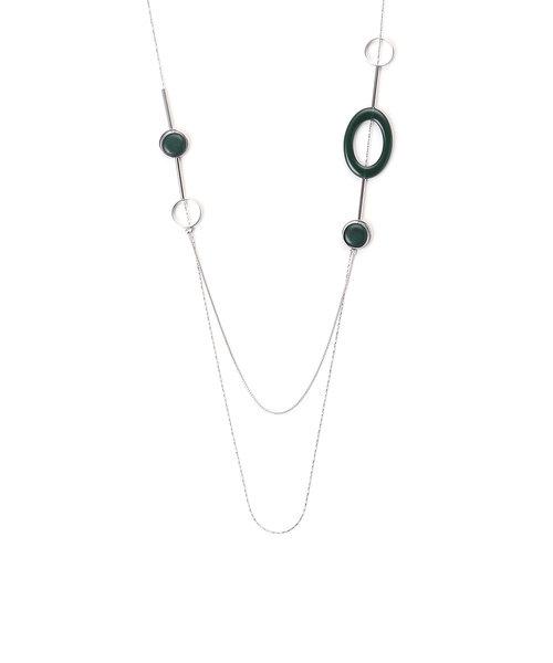 オーバルリングロング ネックレス