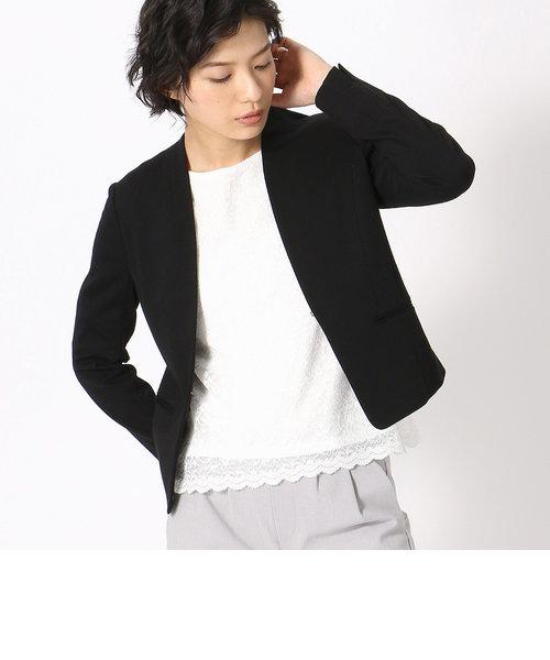《UVカット/ウォッシャブル》 ジャージー ノーカラー ジャケット 日本素材