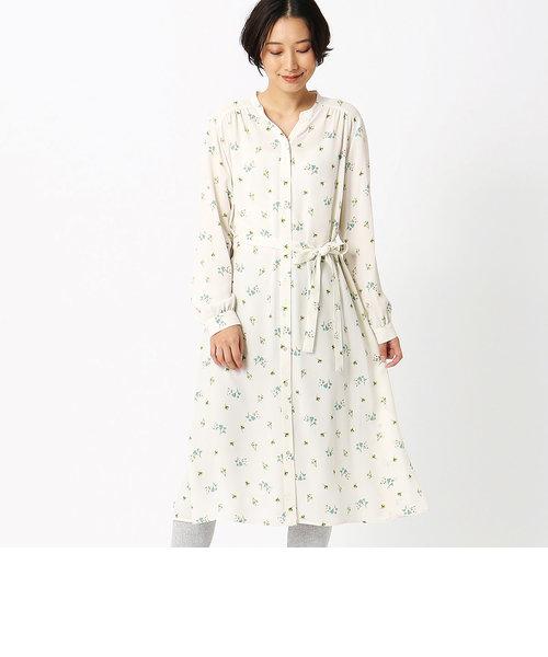 フラワープリント ロングシャツ ワンピース<br>