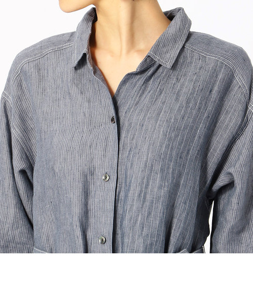《麻デニム》 シャツ ワンピース