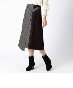 チェック柄 ラップ風スカート