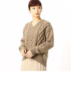 ケーブル編み ニット プルオーバー