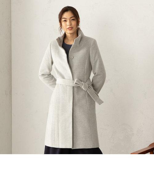 アンゴラ スタンドカラー ウールコート