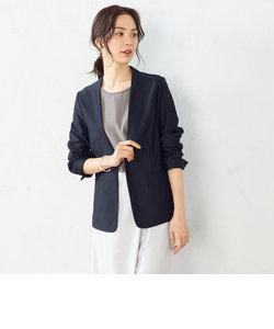 ノーカラー ジャージージャケット <日本素材 ウォッシャブル 吸水速乾 ストレッチ>