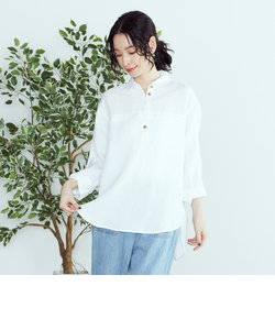《リネンミックス》 スキッパーシャツ