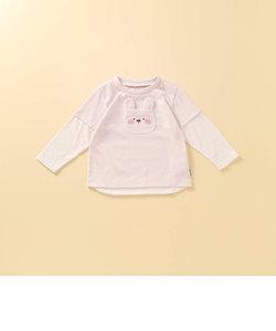 動物アップリケ付き レイヤード長袖Tシャツ(80・90サイズ)