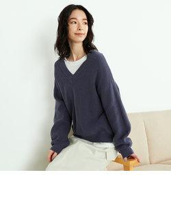 【セットアイテム】 Vネックニットプルオーバー × 長袖Tシャツ