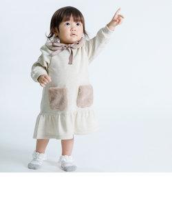エコファーティペット付き 長袖ワンピース(80・90サイズ)
