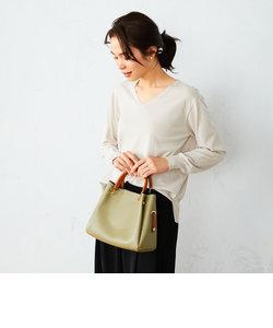 〈5way〉フェイクレザー ポーチ付き ハンドバッグ