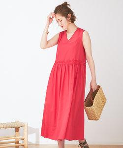 カラーステッチギャザードレス