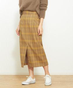釦付きチェックタイトスカート