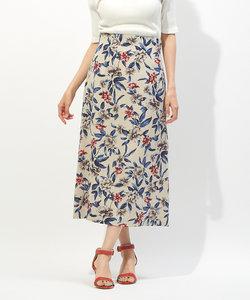 麻調フラワープリントスカート