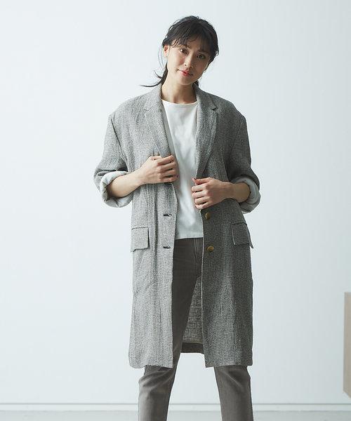 【JILKY】リネンチェックテーラードジャケットコート