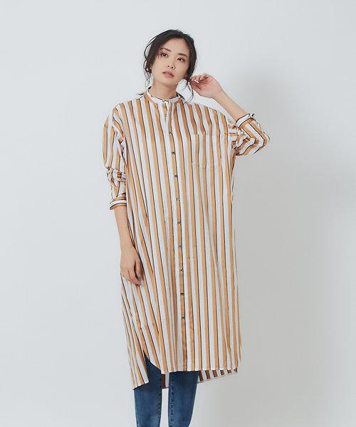 TICCA ノーカラースクエアビッグロングシャツ