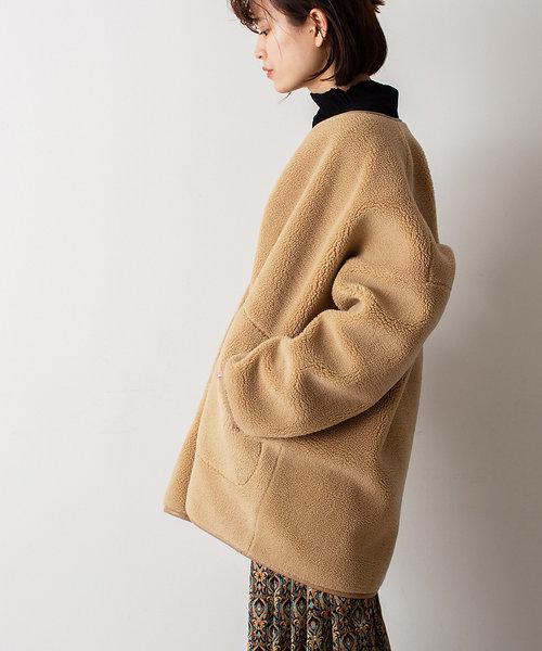 【WEB&一部店舗限定】リバーシブルボアハーフ丈コート