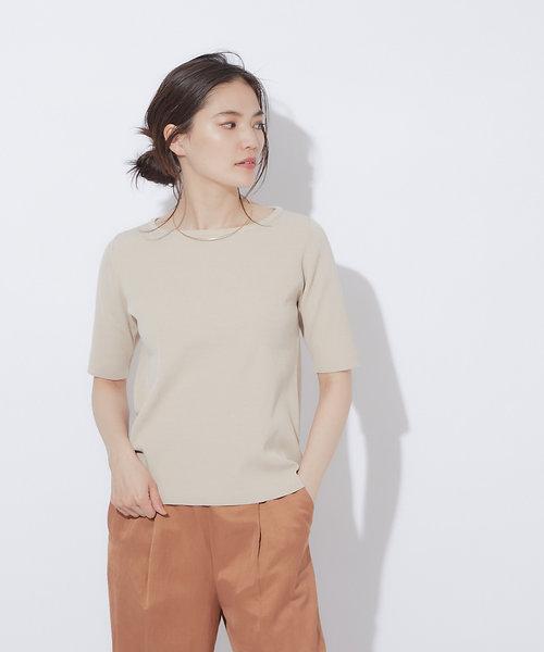 ウォッシャブルボートネックニットTシャツ