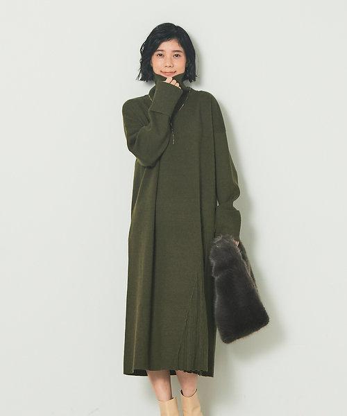 【WEB限定】タートルプリーツニットワンピース