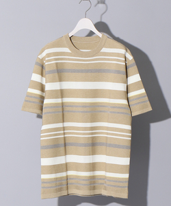 【WEB別注】リンクスジャガードマルチボーダークルーネックTシャツ