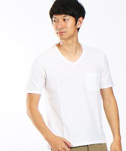 鹿の子サッカーストライプVネックTシャツ