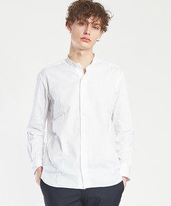 【Recency of Mine】カラミクロスストライプバンドカラーシャツ
