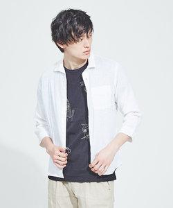 【展開店舗限定】リネンイタリアンカラー7分袖シャツ