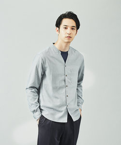 【展開店舗限定】レトロ小紋柄 長袖キーネックシャツ