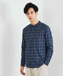 【展開店舗限定】バンドカラーネルチェックシャツ