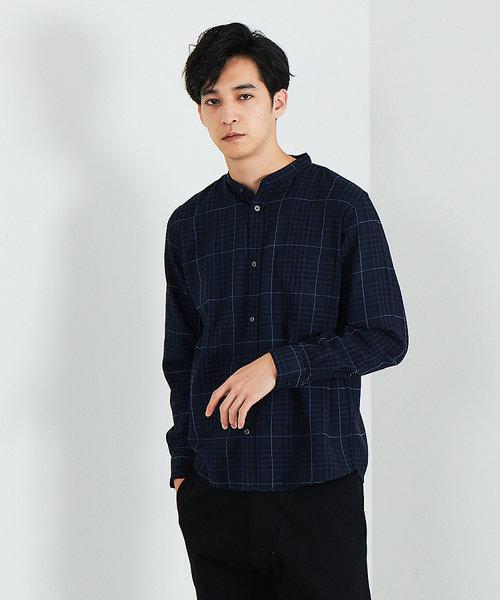 【展開店舗限定】モールチェック バンドカラーシャツ