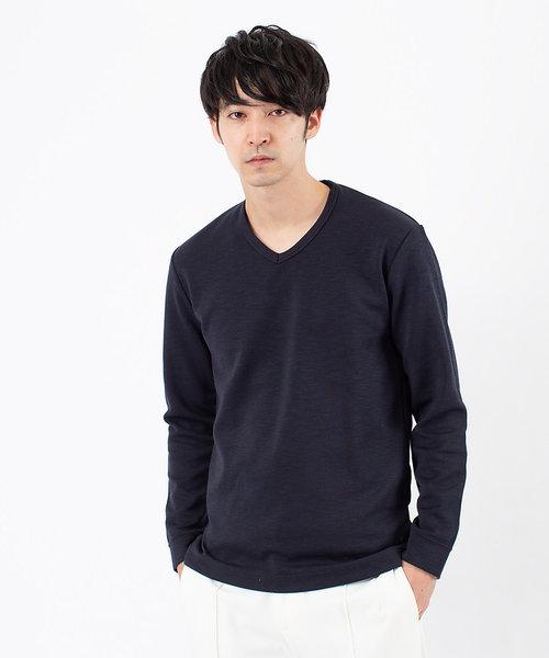 撚り杢ツイル Vネック 長袖 Tシャツ