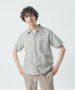 コットン リネン ストライプ 半袖 シャツ
