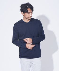 【展開店舗限定】シルケット天竺 Vネック 長袖Tシャツ