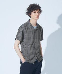 【展開店舗限定】チェック/ストライプ柄 オープンカラー 半袖シャツ