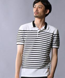 スレッドボーダー半袖ポロシャツ