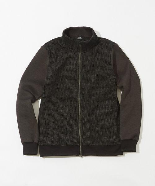 【セットアップ対応】ブリスターヘリンボントラックジャケット