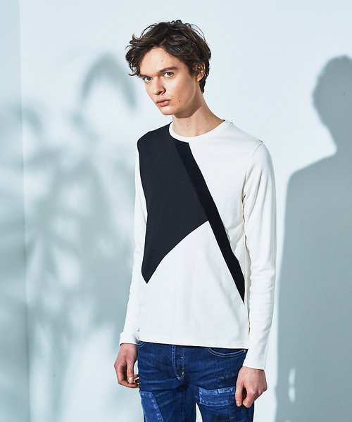 モノトーン カラーブロック ロング Tシャツ