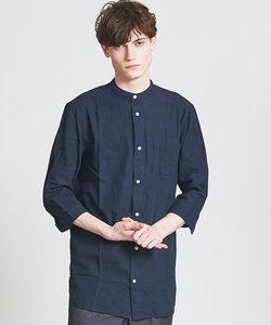 7分袖バンドカラーシャツ