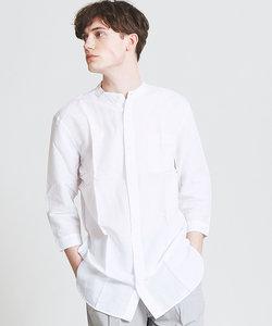 綿麻7分袖バンドカラーシャツ