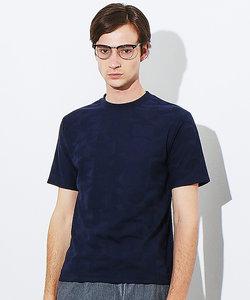 幾何学柄リンクスジャガードクルーTシャツ