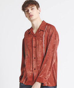 サテンタックストライプオープンカラーシャツ