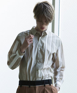 ストライプパネル切り替えシャツ