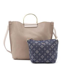インバッグ付メタルハンドルトートバッグ