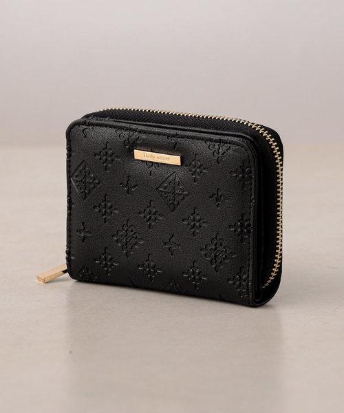 フェイクレザー型押し 二つ折り財布