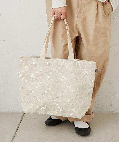 モノグラム刺繍トートバッグ(L)