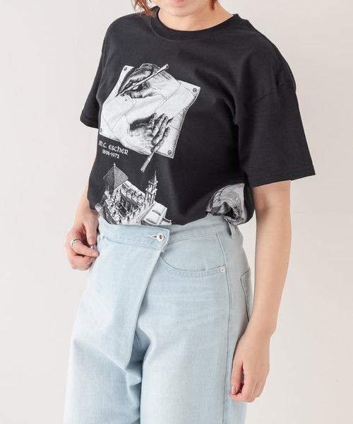 《ユニセックス》【ESCHER】プリントTシャツ