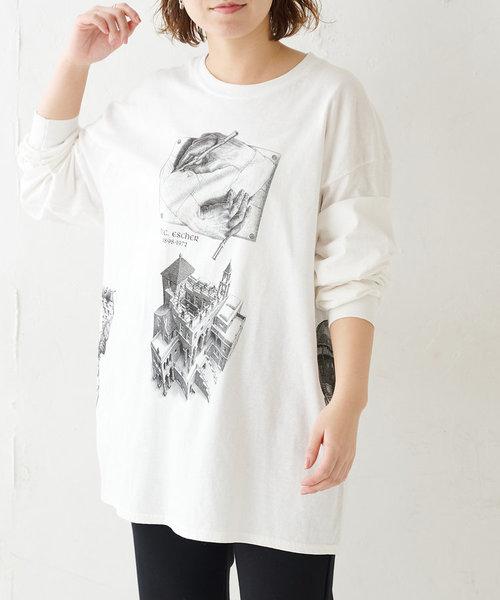 《ユニセックス》【ESCHER】プリントロングスリーブTシャツ